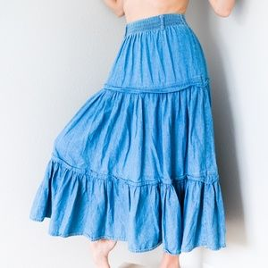 Vintage 80s Ruffle High Waisted Denim Jean Skirt S